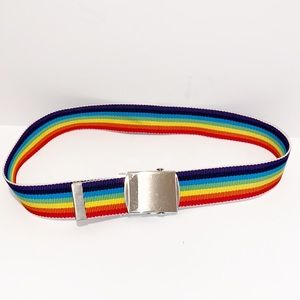 Rainbow canvas belt with silver belt buckle